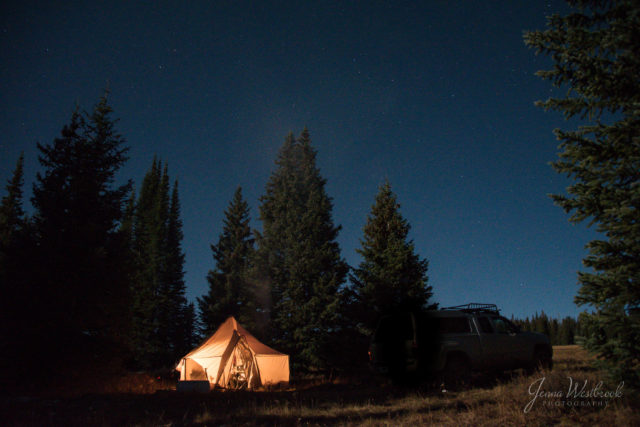 Our tent lit up at night.